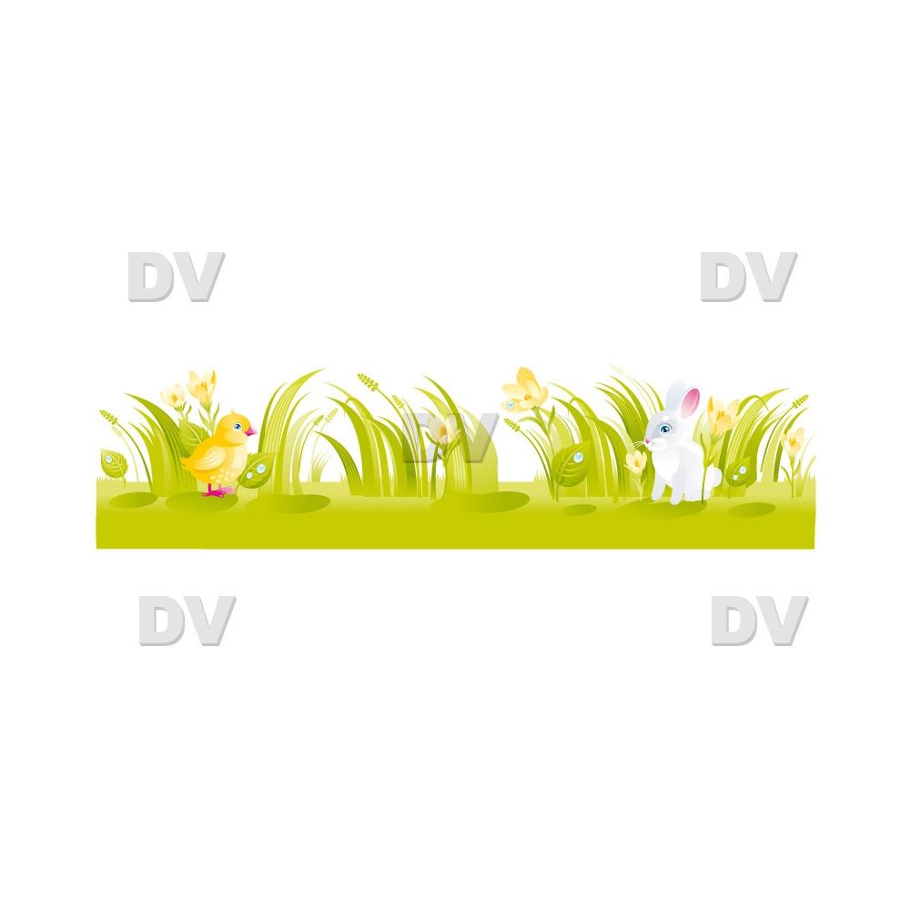 Sticker-frise-de-lapin-poussin-et-crocus-printanière-chambre-bébé-enfant-mural-adhésif-encres-écologiques-latex-décoration-intérieure-DECO-VITRES