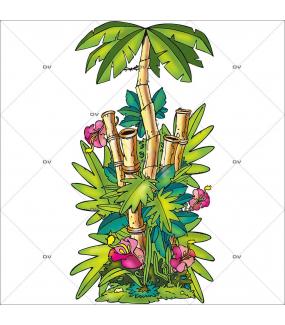 Sticker-bambous-exotiques-cartoon-vitrophanie-décoration-vitrine-estivale-électrostatique-sans-colle-repositionnable-réutilisable-DECO-VITRES