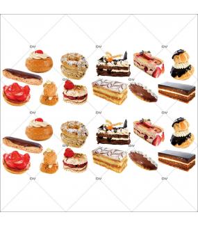Sticker-frises-gâteaux-pâtisseries-françaises-France-qualité-éclairs-millefeuilles-tartes-fraisier-choux-mignardises-vitrophanie-décoration-vitrine-boulangerie-pâtisserie-salon-de-thé-électrostatique-sans-colle-repositionnable-réutilisable-DECO-VITRES