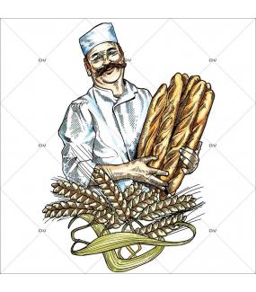 Sticker-boulanger-pains-français-France-qualité-vitrophanie-décoration-vitrine-boulangerie-pâtisserie-électrostatique-sans-colle-repositionnable-réutilisable-DECO-VITRES