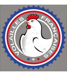Sticker-label-volailles-françaises-France-qualité-vitrophanie-décoration-vitrine-boucherie-charcuterie-électrostatique-sans-colle-repositionnable-réutilisable-DECO-VITRES