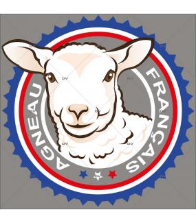 Sticker-label-agneau-français-France-qualité-vitrophanie-décoration-vitrine-boucherie-charcuterie-électrostatique-sans-colle-repositionnable-réutilisable-DECO-VITRES