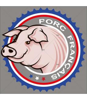 Sticker-label-porc-cochon-français-France-qualité-vitrophanie-décoration-vitrine-boucherie-charcuterie-électrostatique-sans-colle-repositionnable-réutilisable-DECO-VITRES