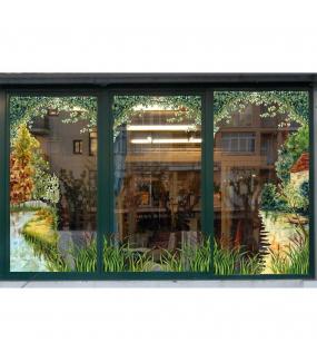 Sticker-décor-campagne-automne-arbres-rivière-barque-vitrophanie-décoration-vitrine-automnale-électrostatique-sans-colle-repositionnable-réutilisable-DECO-VITRES