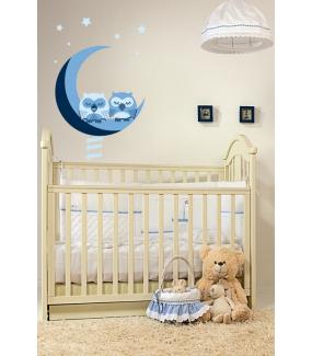Sticker-hiboux-sur-croissant-de-lune-échelle-oiseaux-bleus-chambre-bébé-enfant-adhésif-encres-écologiques-latex-décoration-intérieure-DECO-VITRES