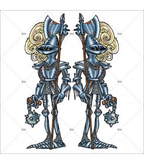 Sticker-halloween-armures-médiéval-château-hanté-31-octobre-vitrophanie-décoration-vitrine-halloween-électrostatique-sans-colle-repositionnable-réutilisable-DECO-VITRES