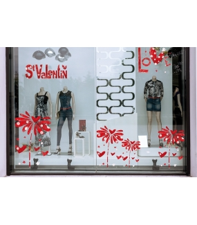 Sticker-love-coeurs-rouge-vitrophanie-décoration-vitrine-saint-valentin-fêtes-mères-pères-électrostatique-sans-colle-repositionnable-réutilisable-DECO-VITRES