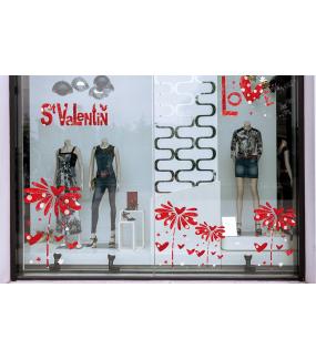Sticker-pâquerette-marguerite-coeurs-rouge-vitrophanie-décoration-vitrine-saint-valentin-fêtes-mères-pères-électrostatique-sans-colle-repositionnable-réutilisable-DECO-VITRES