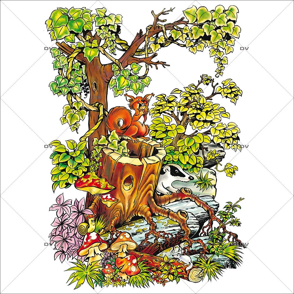 Sticker-souche-lierre-écureuil-cartoon-paysage-printemps-été-vitrophanie-décoration-vitrine-estivale-printanière-électrostatique-sans-colle-repositionnable-réutilisable-DECO-VITRES