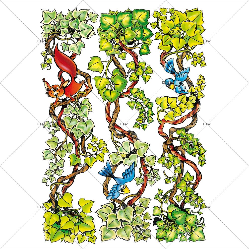 Sticker-frises-lierre-écureuils-cartoon-paysage-printemps-été-vitrophanie-décoration-vitrine-estivale-printanière-électrostatique-sans-colle-repositionnable-réutilisable-DECO-VITRES