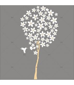 Sticker-arbre-fleuri-colibri-oiseau-fleurs-blanches-printemps-été-vitrophanie-décoration-vitrine-estivale-printanière-électrostatique-sans-colle-repositionnable-réutilisable-DECO-VITRES