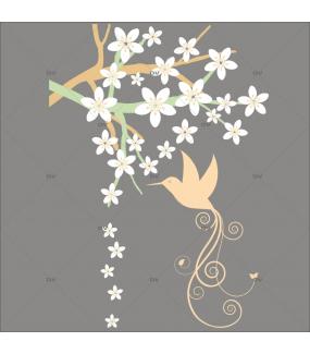 Sticker-branche-fleurie-oiseau-lyre-fleurs-blanches-printemps-été-vitrophanie-décoration-vitrine-estivale-printanière-électrostatique-sans-colle-repositionnable-réutilisable-DECO-VITRES