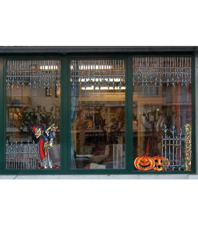 Sticker-halloween-portail-grille-rouillée-médiéval-château-hanté-31-octobre-vitrophanie-décoration-vitrine-halloween-électrostatique-sans-colle-repositionnable-réutilisable-DECO-VITRES