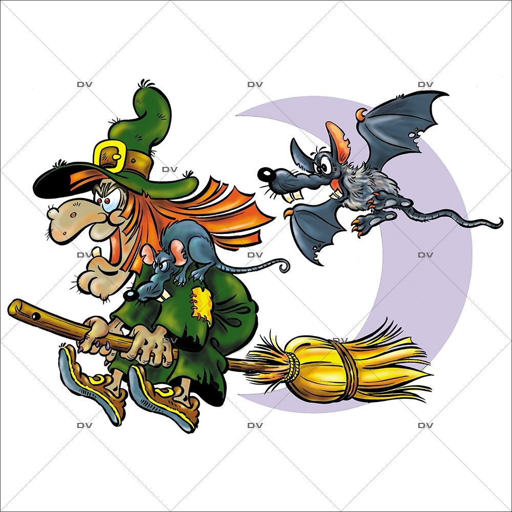 Sticker-halloween-sorcière-balai-chauve-souris-31-octobre-vitrophanie-décoration-vitrine-halloween-électrostatique-sans-colle-repositionnable-réutilisable-DECO-VITRES