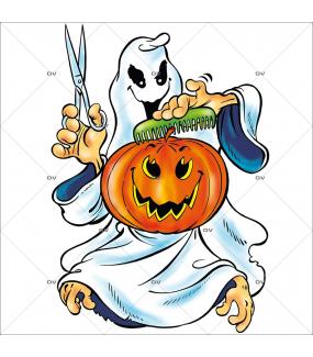 Sticker halloween fantôme coiffeur-vitrophanie-décoration-vitrine-événementielle-électrostatique-fêtes-sans-colle-repositionnable-réutilisable-DECO-VITRES