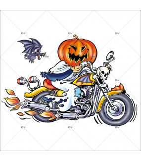 Sticker-halloween-citrouille-biker-moto-31-octobre-vitrophanie-décoration-vitrine-halloween-électrostatique-sans-colle-repositionnable-réutilisable-DECO-VITRES