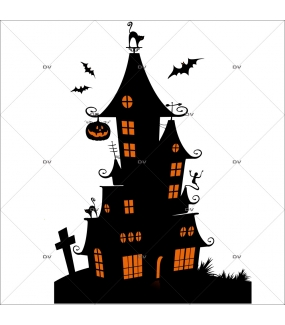 Sticker-halloween-manoir-hanté-31-octobre-vitrophanie-décoration-vitrine-halloween-électrostatique-sans-colle-repositionnable-réutilisable-DECO-VITRES