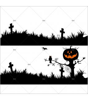 Sticker-halloween-frise-cimetière-hanté-31-octobre-vitrophanie-décoration-vitrine-halloween-électrostatique-sans-colle-repositionnable-réutilisable-DECO-VITRES