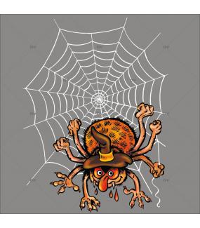 Sticker-halloween-araignée-dans-sa-toile-31-octobre-vitrophanie-décoration-vitrine-halloween-électrostatique-sans-colle-repositionnable-réutilisable-DECO-VITRES