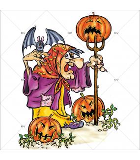 Sticker-halloween-sorcière-citrouilles-fourche-chauve-souris-31-octobre-vitrophanie-décoration-vitrine-halloween-électrostatique-sans-colle-repositionnable-réutilisable-DECO-VITRES