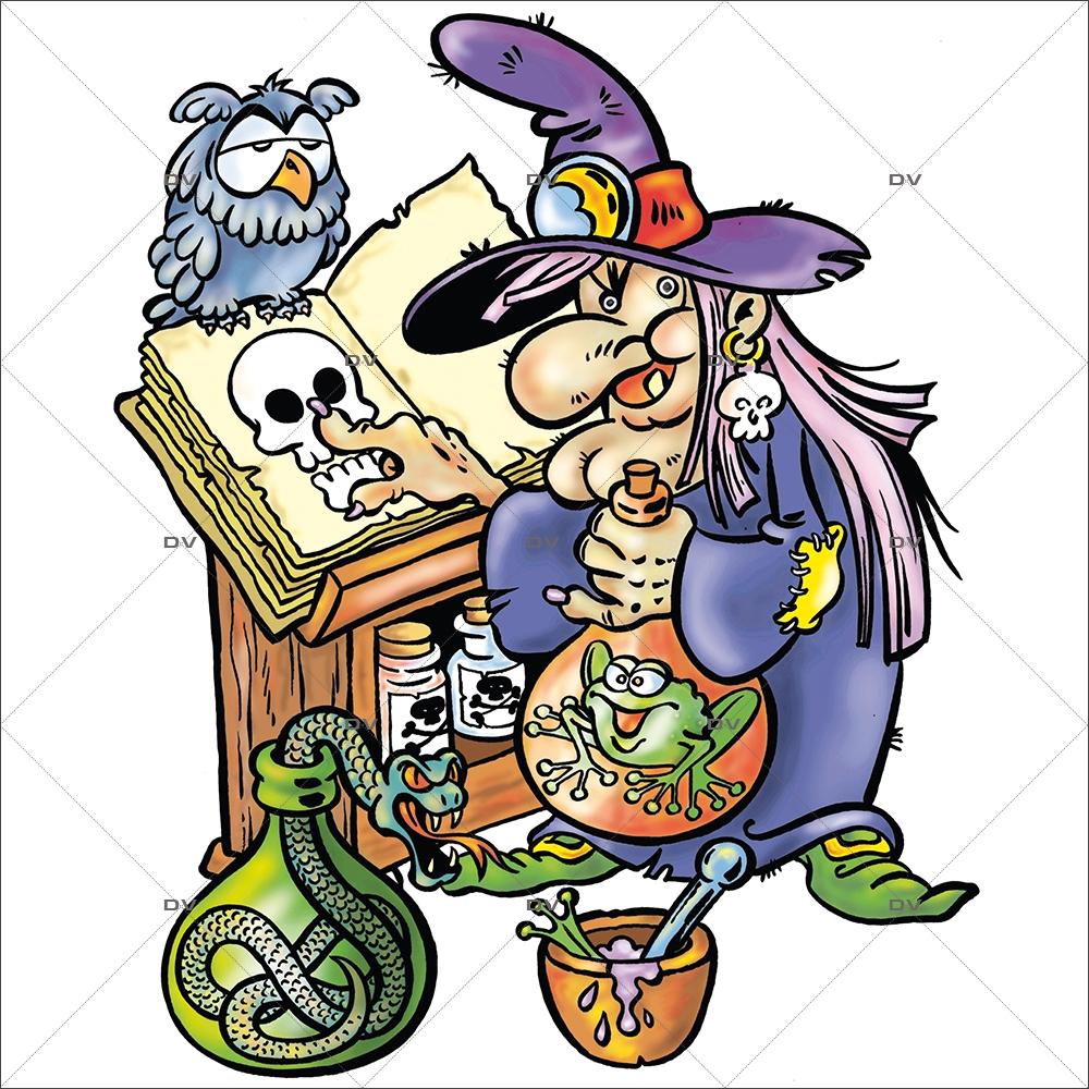 Decoration Sorciere Halloween.Hall3 Sticker Sorcière Grimoire Halloween Deco Vitres Electrostatique