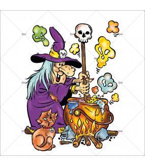 Sticker-halloween-sorcière-chaudron-chat-tête-de-mort-potion-magique-31-octobre-vitrophanie-décoration-vitrine-halloween-électrostatique-sans-colle-repositionnable-réutilisable-DECO-VITRES