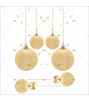 Sticker-frises-de-boules-de-noël-dorées-vitrophanie-décoration-vitrine-noël-électrostatique-sans-colle-repositionnable-réutilisable-DECO-VITRES