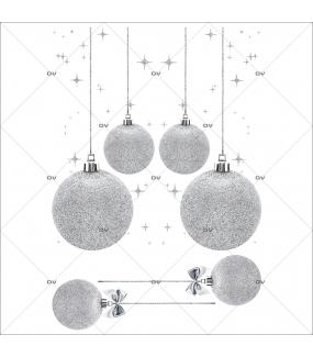 Sticker-frises-de-boules-de-noël-argentées-vitrophanie-décoration-vitrine-noël-électrostatique-sans-colle-repositionnable-réutilisable-DECO-VITRES