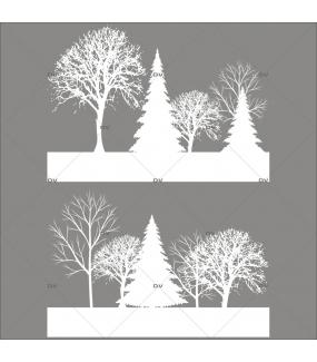 Sticker-frises-arbres-givrés-blanc-paysage-hiver-vitrophanie-décoration-vitrine-noël-électrostatique-sans-colle-repositionnable-réutilisable-DECO-VITRES