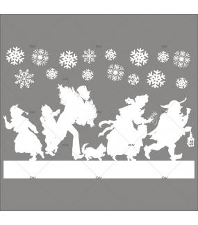 Sticker-frise-de-personnages-shopping-de-noël-silhouettes-cristaux-blanc-vitrophanie-décoration-vitrine-noël-électrostatique-sans-colle-repositionnable-réutilisable-DECO-VITRES