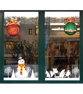 Sticker-boules-de-noël-géantes-texte-joyeux-noël-rouge-vert-vitrophanie-décoration-vitrine-noël-électrostatique-sans-colle-repositionnable-réutilisable-DECO-VITRES