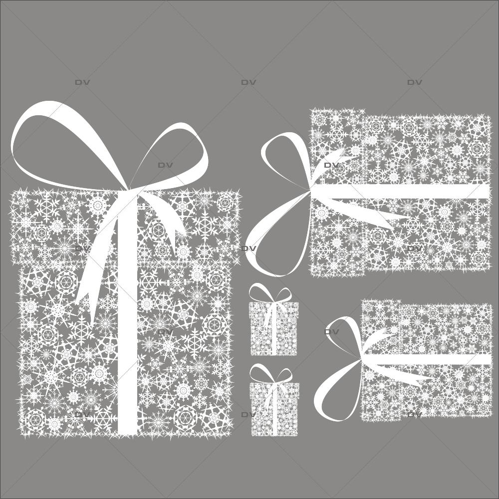 Sticker-paquets-cadeaux-en-cristaux-blanc-vitrophanie-décoration-vitrine-noël-électrostatique-sans-colle-repositionnable-réutilisable-DECO-VITRES
