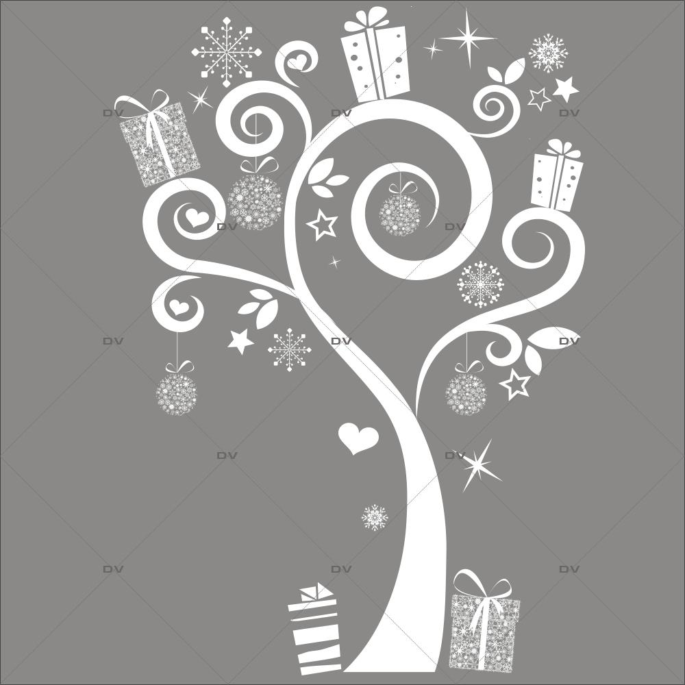 Sticker-arbre-de-noël-givré-cadeaux-blanc-vitrophanie-décoration-vitrine-noël-électrostatique-sans-colle-repositionnable-réutilisable-DECO-VITRES