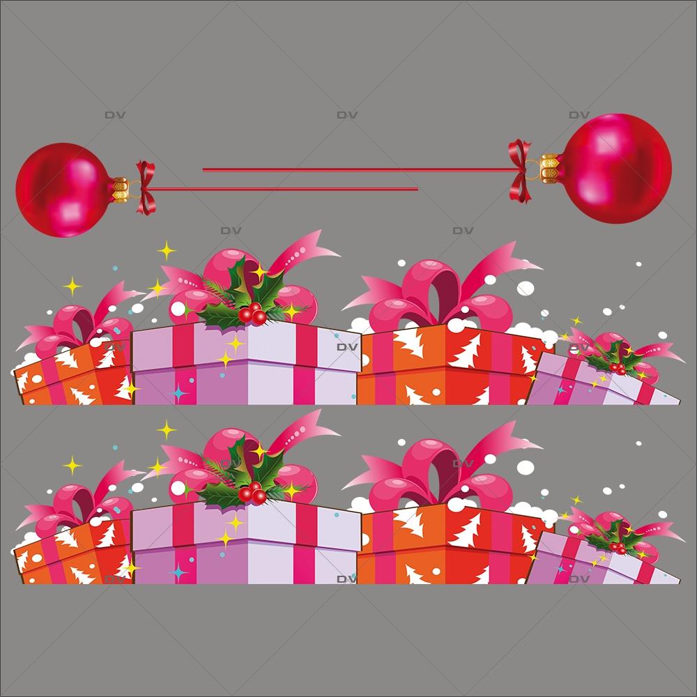 Sticker-frises-de-paquets-cadeaux-de-noël-vitrophanie-décoration-vitrine-noël-électrostatique-sans-colle-repositionnable-réutilisable-DECO-VITRES
