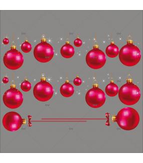 Sticker-frises-de-boules-de-noël-fuchsia-vitrophanie-décoration-vitrine-noël-électrostatique-sans-colle-repositionnable-réutilisable-DECO-VITRES