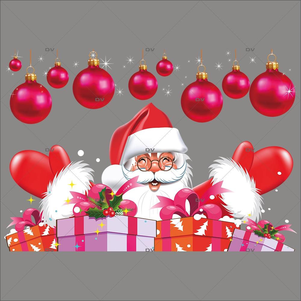 Sticker-père-noël-boules-de-noël-paquets-cadeaux-vitrophanie-décoration-vitrine-noël-électrostatique-sans-colle-repositionnable-réutilisable-DECO-VITRES