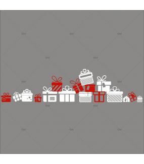Sticker-frises-de-paquets-cadeaux-de-noël-blancs-rouges-vitrophanie-décoration-vitrine-noël-électrostatique-sans-colle-repositionnable-réutilisable-DECO-VITRES
