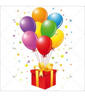 Sticker-ballons-multicolores-paquet-cadeau-noël-anniversaire-étoiles-fête-vitrophanie-décoration-vitrine-noël-promotions-électrostatique-sans-colle-repositionnable-réutilisable-DECO-VITRES