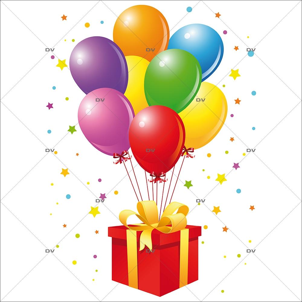 Decoration De Paquets Cadeaux cbl1 - sticker ballons cadeau - deco-vitres - electrostatique