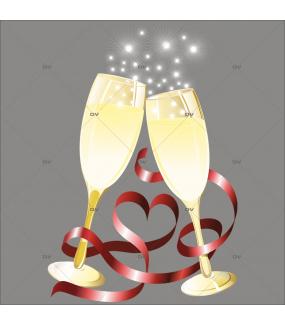 Sticker-coupes-de-champagne-ruban-coeur-noël-anniversaire-fête-vitrophanie-décoration-vitrine-noël-saint-valentin-électrostatique-sans-colle-repositionnable-réutilisable-DECO-VITRES