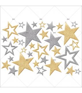 Sticker-étoiles-or-argent-vitrophanie-décoration-vitrine-noël-électrostatique-sans-colle-repositionnable-réutilisable-DECO-VITRES
