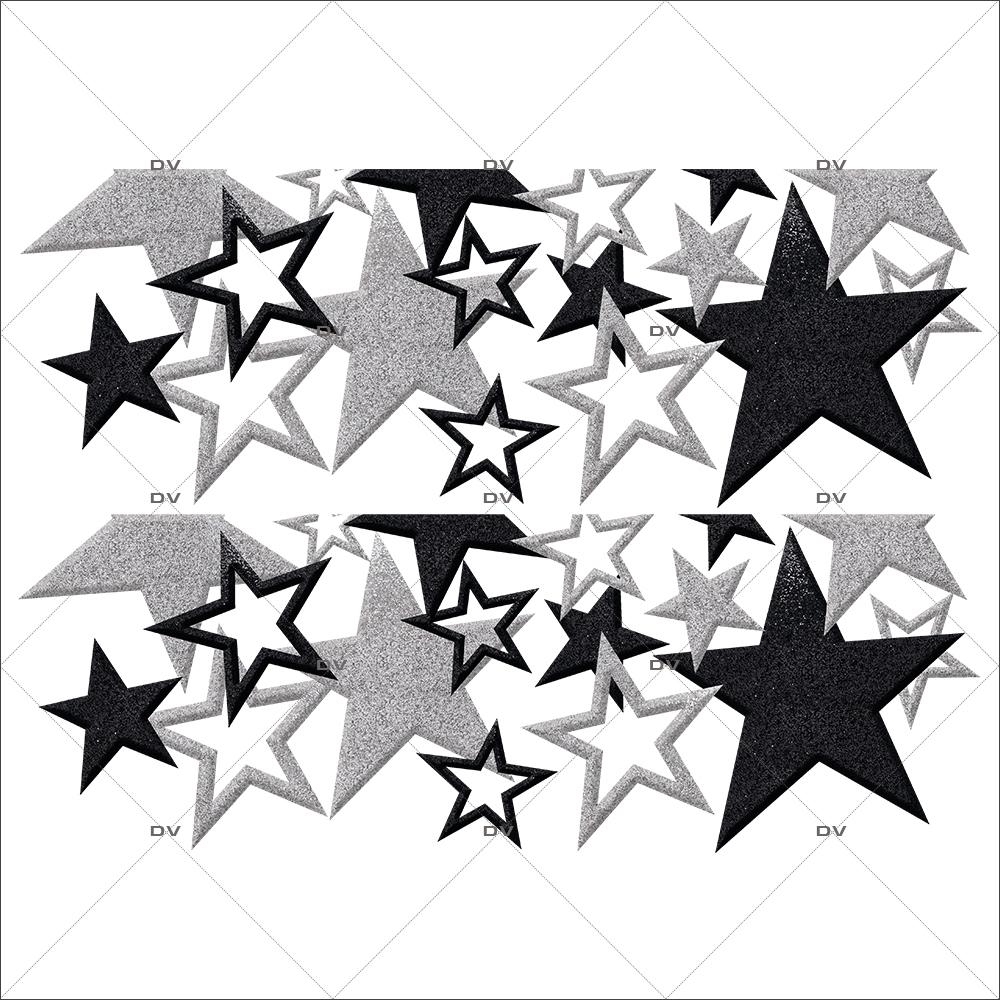 Sticker-frises-étoiles-noir-argent-vitrophanie-décoration-vitrine-noël-électrostatique-sans-colle-repositionnable-réutilisable-DECO-VITRES