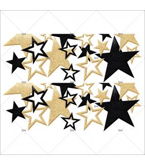 Sticker-frises-étoiles-noir-or-vitrophanie-décoration-vitrine-noël-électrostatique-sans-colle-repositionnable-réutilisable-DECO-VITRES