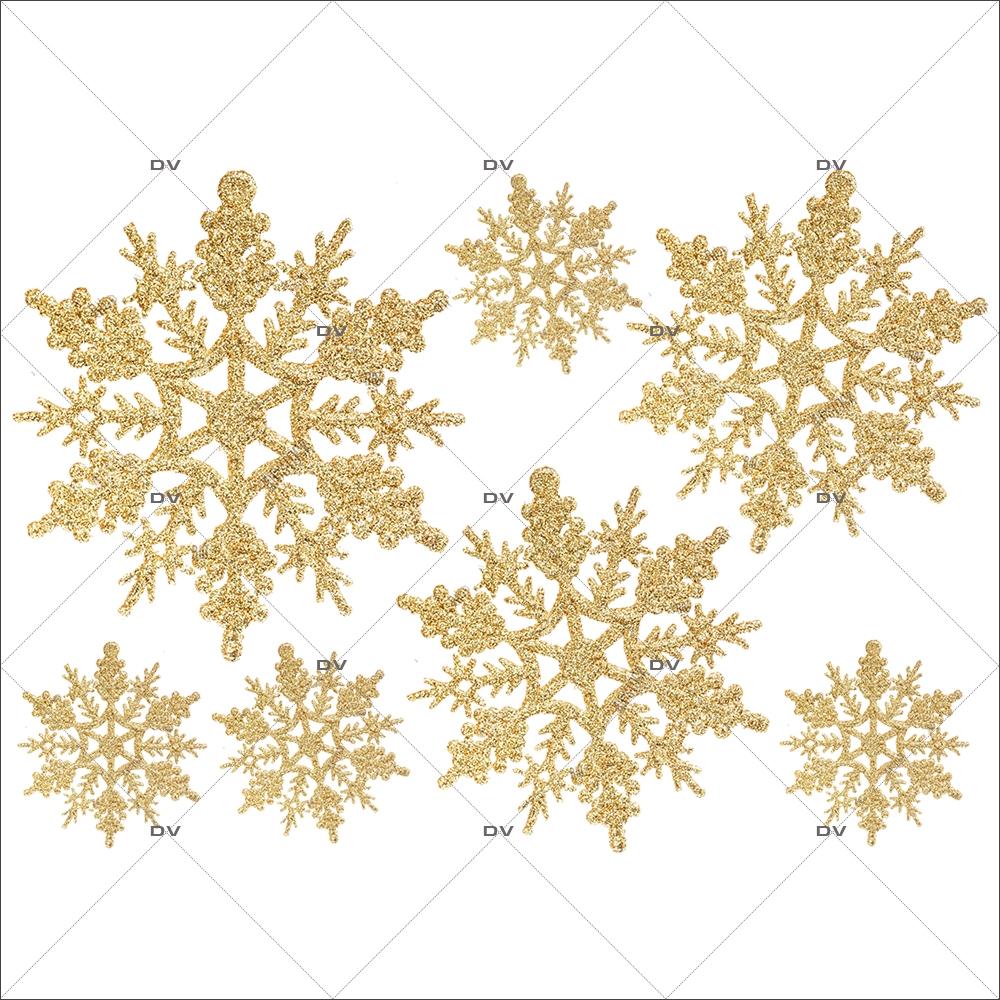 Sticker-gros-cristaux-dorés-vitrophanie-décoration-vitrine-noël-électrostatique-sans-colle-repositionnable-réutilisable-DECO-VITRES