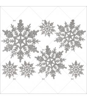 Sticker-gros-cristaux-argent-vitrophanie-décoration-vitrine-noël-électrostatique-sans-colle-repositionnable-réutilisable-DECO-VITRES