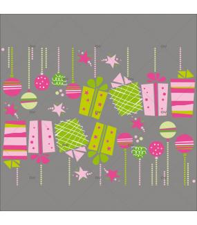 Sticker-frises-suspensions-boules-de-noël-paquets-cadeaux-thème-girly-vitrophanie-décoration-vitrine-noël-électrostatique-sans-colle-repositionnable-réutilisable-DECO-VITRES