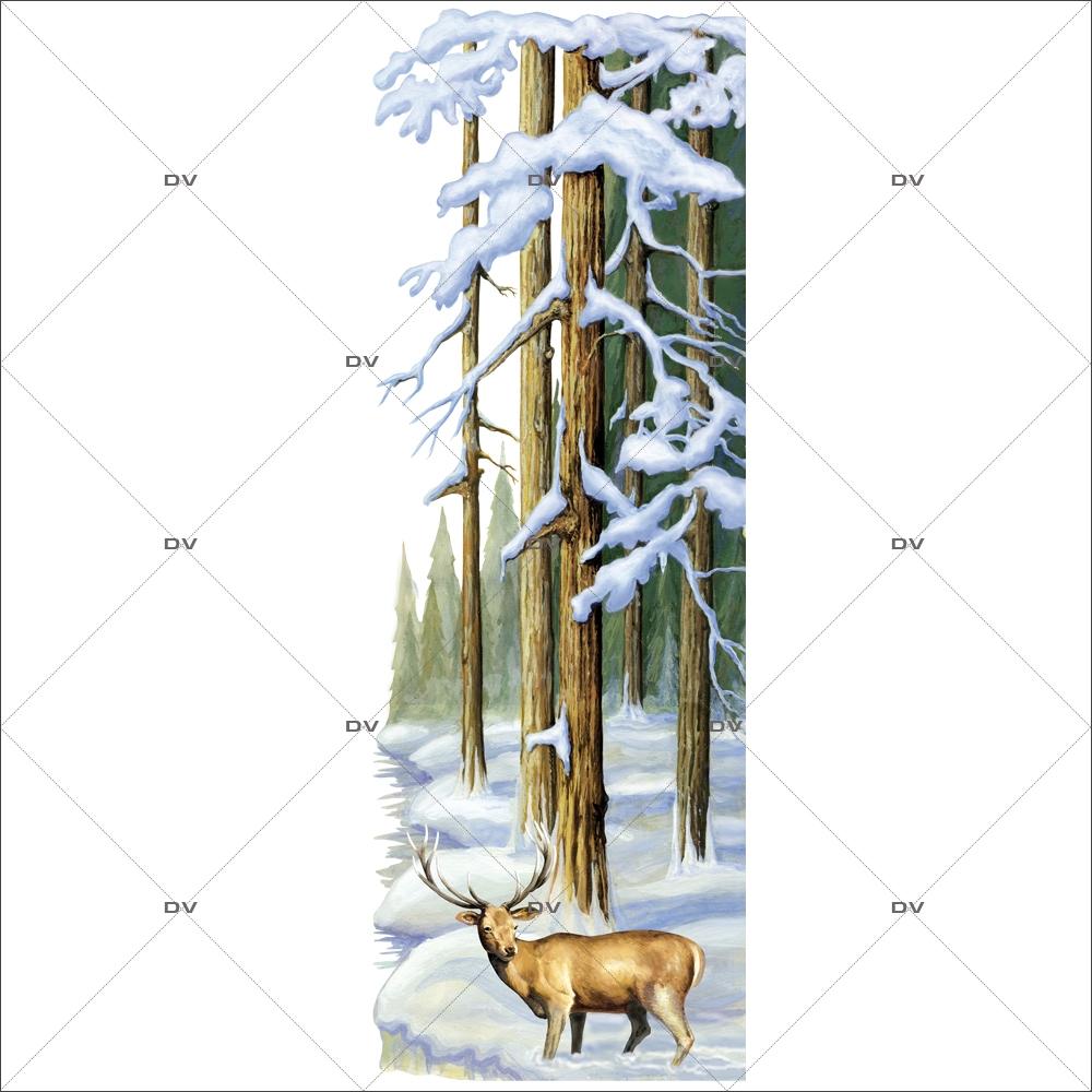 Sticker-paysage-de-neige-forêt-sapins-enneigés-cerf-nature-hiver-ski-vacances-fête-vitrophanie-décoration-vitrine-noël-électrostatique-sans-colle-repositionnable-réutilisable-DECO-VITRES