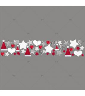Sticker-frise-de-noël-coeurs-étoiles-bonnets-moderne-industriel-vitrophanie-décoration-vitrine-noël-électrostatique-sans-colle-repositionnable-réutilisable-DECO-VITRES