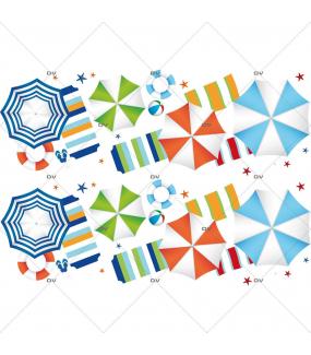 Sticker-frise-parasols-plage-serviettes-tongs-mer-vacances-été-vitrophanie-décoration-vitrine-estivale-électrostatique-sans-colle-repositionnable-réutilisable-DECO-VITRES