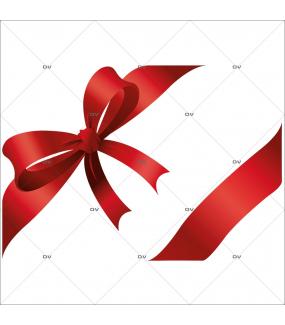 Sticker-angles-noeud-et-ruban-cadeau-rouge-encadrement-vitrophanie-décoration-vitrine-noël-électrostatique-sans-colle-repositionnable-réutilisable-DECO-VITRES